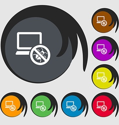 Bug find icon sign symbols on eight colored vector