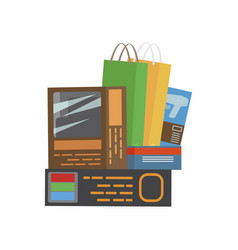 bunch of purchases shopping vector image vector image