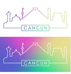 Cancun skyline colorful linear style vector