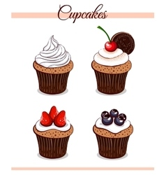 Cartoon Cupcakes Set vector image vector image