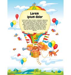 cartoon kids riding hot air balloon vector image vector image