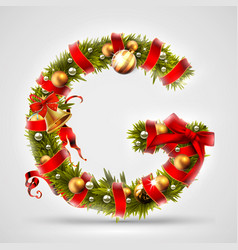 christmas font letter g of christmas tree vector image