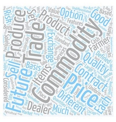 Commodities an overview text background wordcloud vector