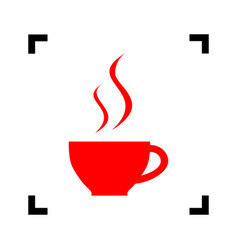 Cup of coffee sign red icon inside black vector