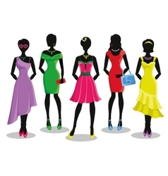 Fashion girl in Colored party dressesSale poster vector image vector image