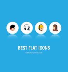 Flat icon call set of service call center vector