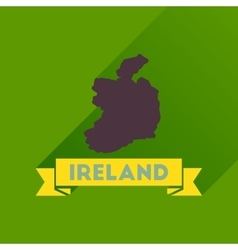 Flat icon with long shadow ireland map vector