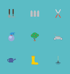 Flat icons lawn mower green wood tools and other vector