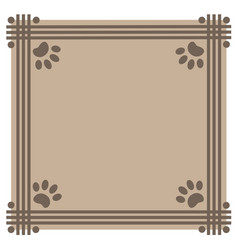 frame beige background with paw prints animals vector image