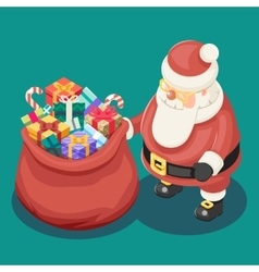 Gifts bag cute isometric 3d christmas santa claus vector
