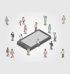 group of people standing around smartphone social vector image