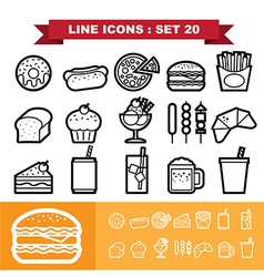 Line icons set 20 vector image