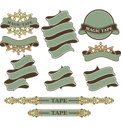 set of vintage ribbons and banners vector image