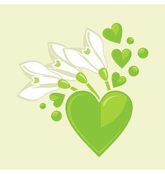 Snowdrops and hearts vector image vector image