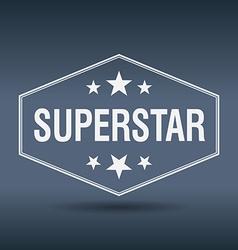 Superstar hexagonal white vintage retro style vector