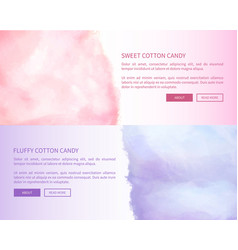 Sweet fluffy cotton candy advertisement banner vector