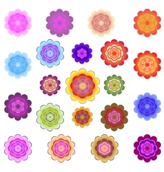 Templates of bright colored stylized flowers vector image vector image