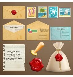 Vintage postcards vector image