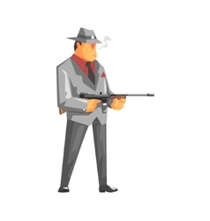 Vintage Style Mafioso With Machine Gun vector image vector image