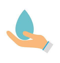 water drop symbol to environment care in the hand vector image vector image