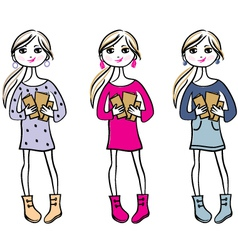 Hand drawn girls with books vector