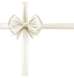 White silky bow ribbon vector