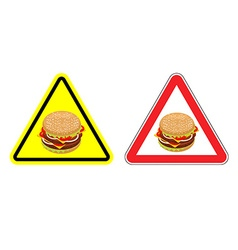 Warning sign of attention hamburger dangers yellow vector