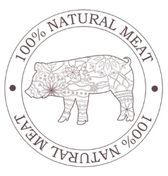 Natural meat stamp with pig vector