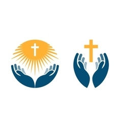 Hands holding Cross icons or symbols Religion vector image