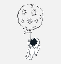 Spaceman with moon vector