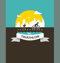 for triathlon poster flat vector image