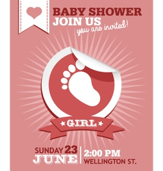 Baby girl shower invitation card vector