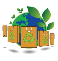 Bag green world concept vector