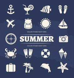 Summer vacation icons set - travel adventure icon vector