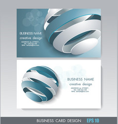 Business card design with fragmented ball vector