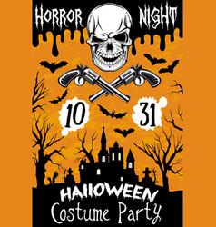 Halloween poster horror skull party vector