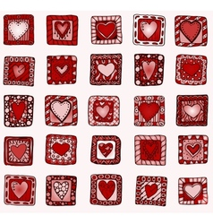 Collection of original drawing doodle hearts vector image