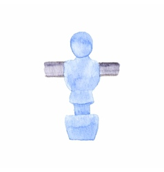 Foosball player watercolor object on the white vector