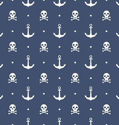 Seamless pattern with anchors and skulls vector