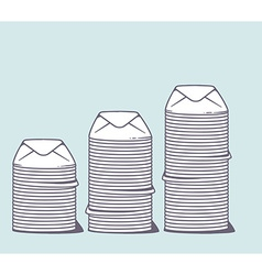 stacks of white closed envelopes on color vector image