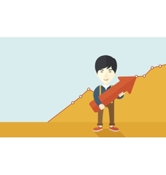 Happy chinese guy holding arrow up sign vector