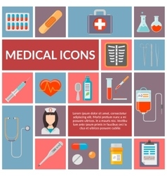 Set of medical flat design icons vector