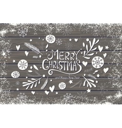 Greeting card with merry christmas hand lettering vector