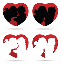 Mom kiss child in heart red vector