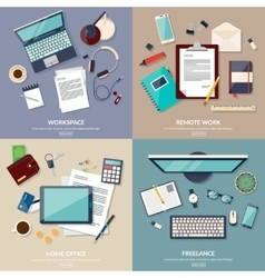 Set of 2x2 banners of home workspace flat design vector