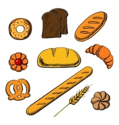 Bakery icons with bread and pastry vector