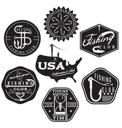 Collection of vintage labels on fishing theme vector