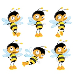 Set funny bee vector