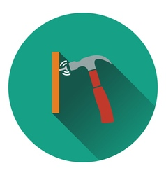 Icon of hammer beat to nail vector
