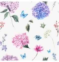 Floral seamless pattern with blooming hydrangea vector
